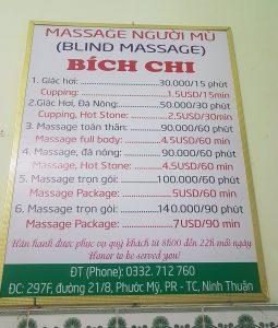 bảng giá dịch vụ massage Bích Chi